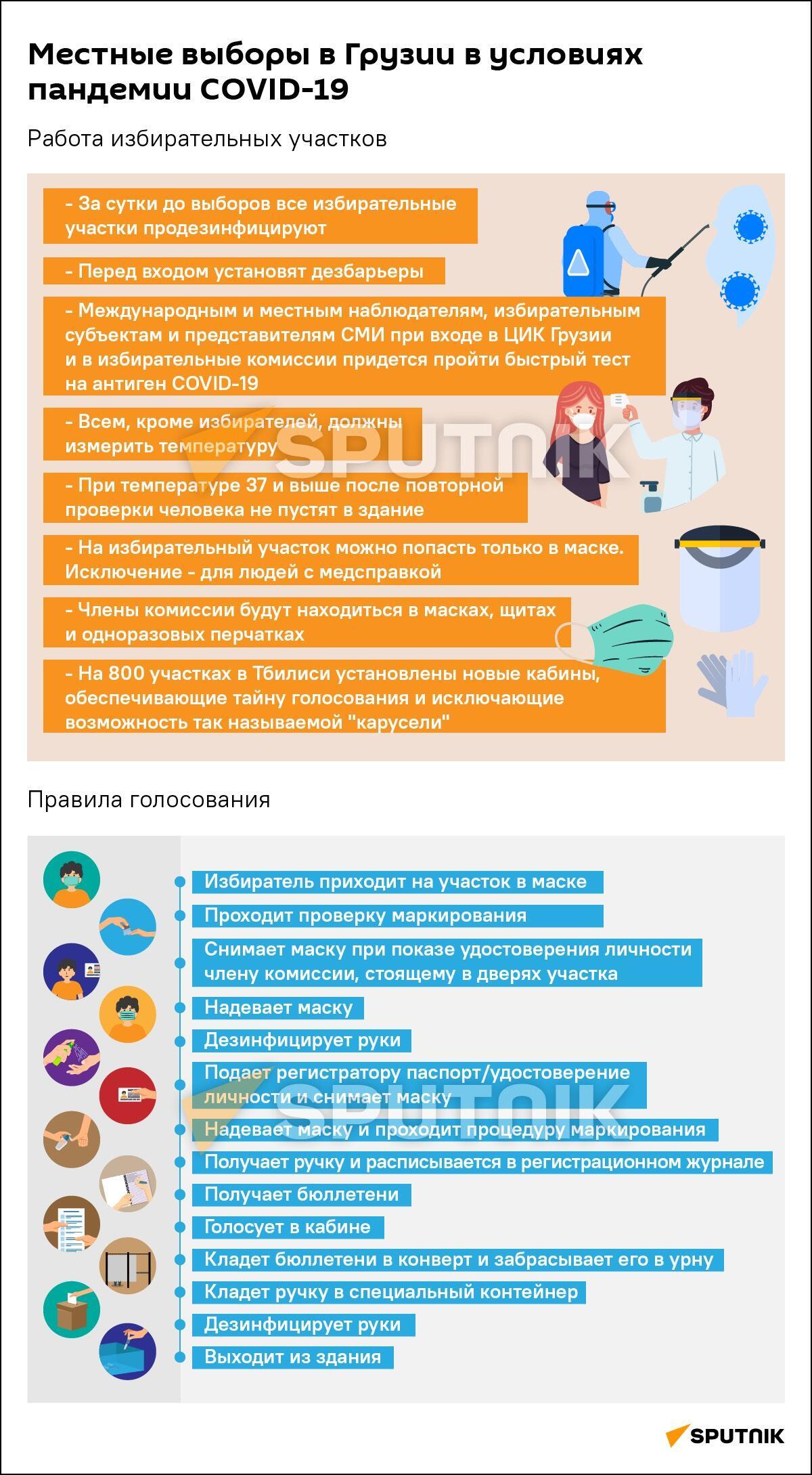 Выборы и пандемия: как пройдет голосование в Грузии 2021 инфографика - Sputnik Грузия