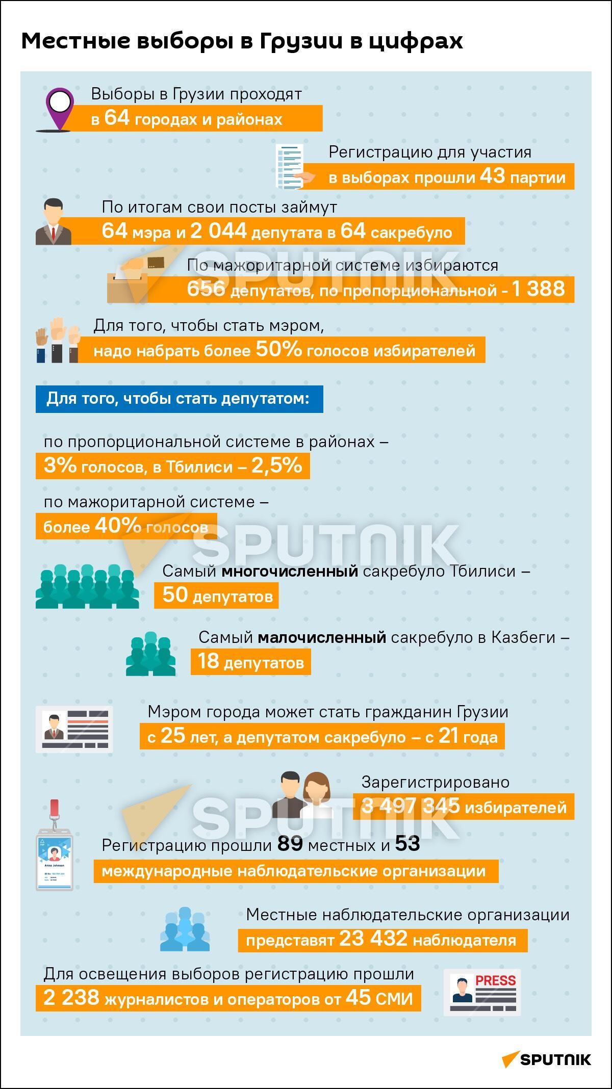 Местные выборы в Грузии в цифрах - Sputnik Грузия