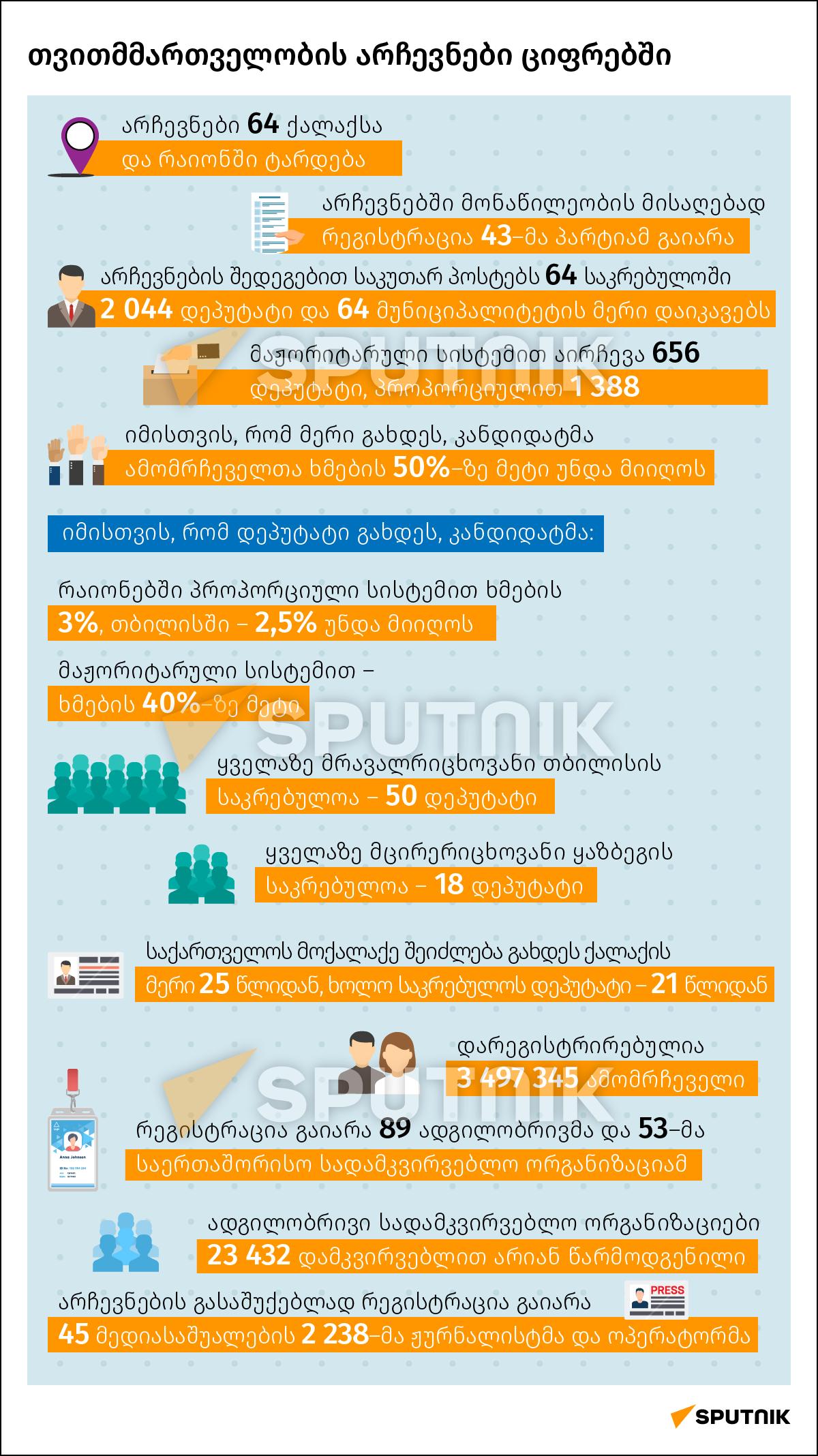 თვითმმართველობის არჩევნები ციფრებში - Sputnik საქართველო