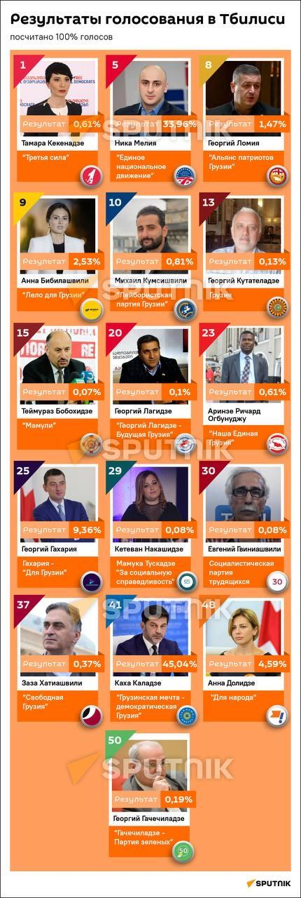 Выборы мэра Тбилиси — как проголосовали избиратели - Sputnik Грузия