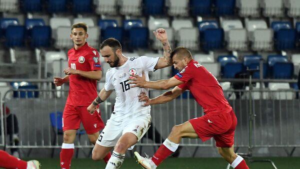 Ника Квеквескири. Матч между сборными Грузии и Беларуси в рамках Лиги наций УЕФА - Sputnik Грузия