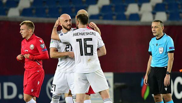 Игроки радуются победе. Сборная Грузии выиграла у Беларуси в Лиге наций УЕФА 1:0 - Sputnik Грузия