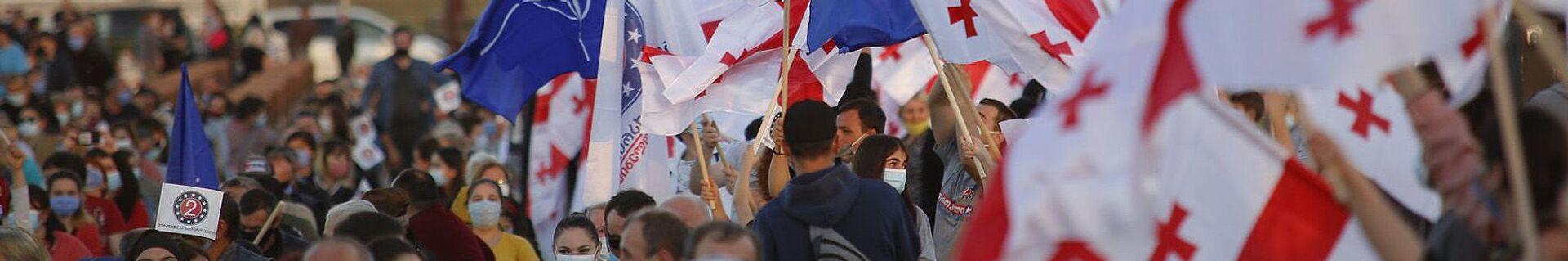 Предвыборная агитация. Европейская Грузия проводит встречи с избирателями. Флаги Грузии и НАТО - Sputnik Грузия, 1920