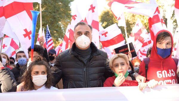 Заал Удумашвили. Акция протеста у здания парламента Грузии 8 ноября 2020 - Sputnik Грузия