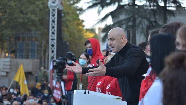 Ника Мелия. Масштабная акция протеста оппозиции в воскресенье 8 ноября 2020 перед зданием парламента Грузии - Sputnik Грузия