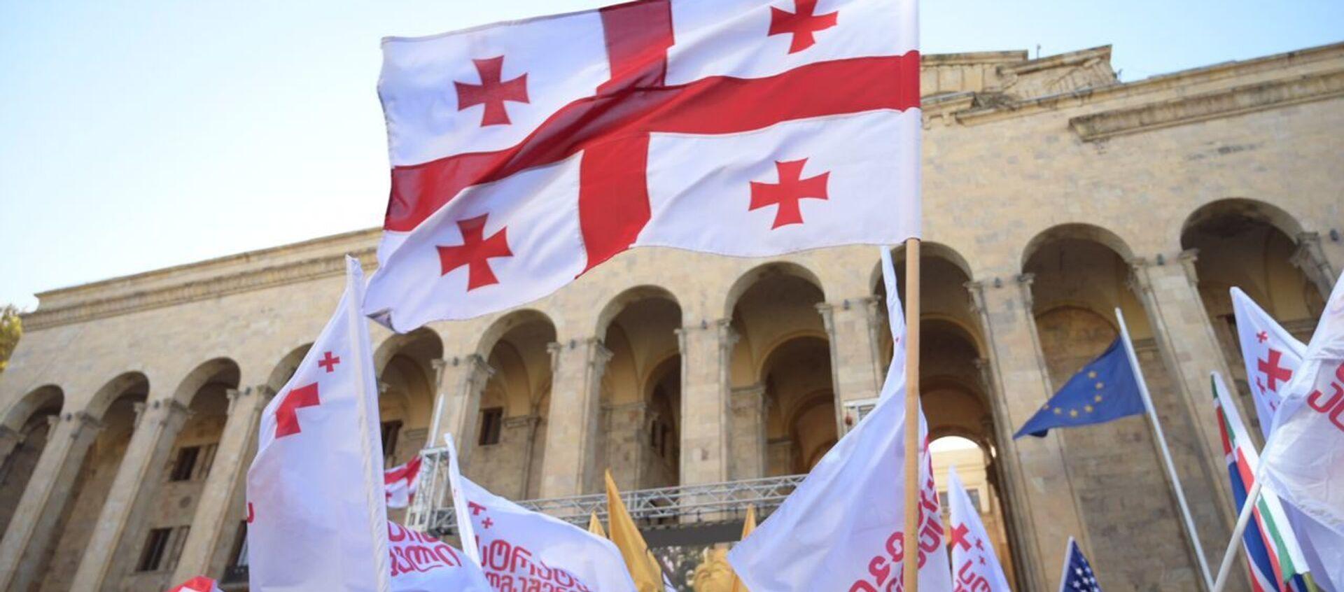 Масштабная акция протеста оппозиции в воскресенье 8 ноября 2020 перед зданием парламента Грузии - Sputnik Грузия, 1920, 16.04.2021