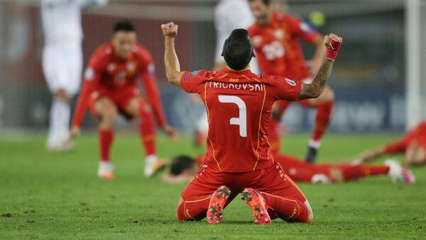 Македонцы радуются победе. Матч между сборными Грузии и Македонии прошел при пустых трибунах на стадионе Динамо Арена  - Sputnik Грузия