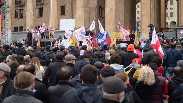 Акция протеста оппозиции 14 ноября 2020 года - протестующие у парламента - Sputnik Грузия