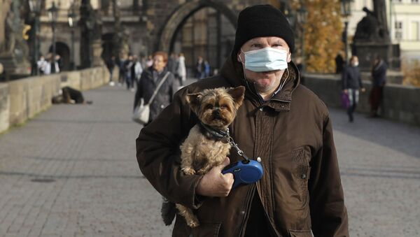 Пандемия коронавируса COVID 19 - мужчина в маске на Карловом мосту в Праге, Чехия - Sputnik Грузия