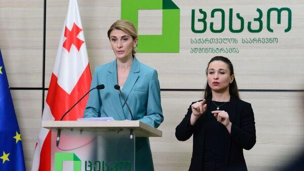 Натия Иоселиани, брифинг в ЦИК Грузии - Sputnik Грузия
