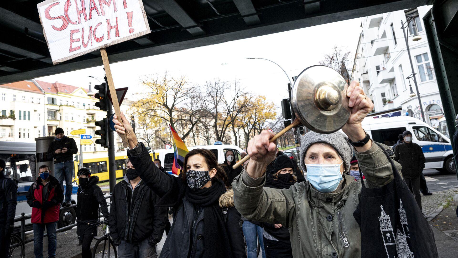 საპროტესტო აქცია გერმანიაში კოვიდ-შეზღუდვების წინააღმდეგ - Sputnik საქართველო, 1920, 23.05.2021