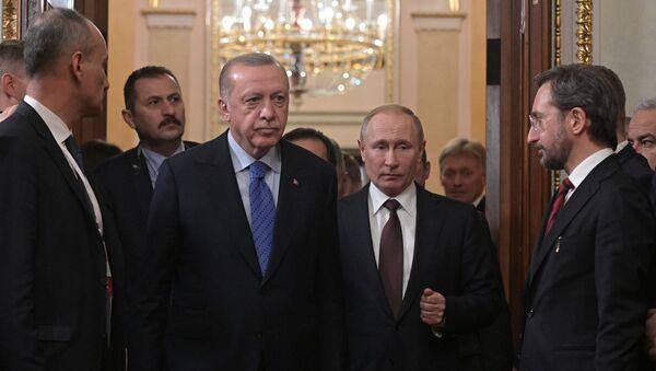 Встреча президентов России и Турции Владимира Путина и Реджепа Тайипа Эрдогана (5 марта 2020). Москва - Sputnik Грузия