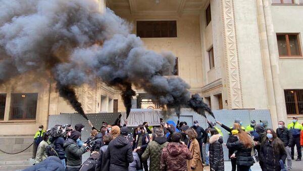 Акция оппозиции Скотный двор перед зданием парламента 25 ноября 2020 года - Sputnik Грузия