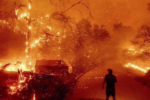Пожар в каньоне Сильверадо округа Ориндж начался поздно вечером в среду  - Sputnik Грузия