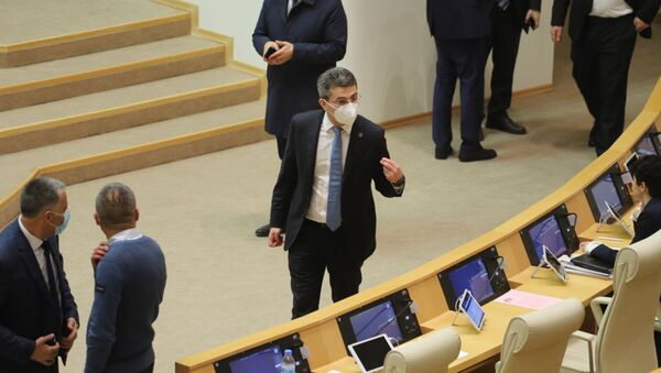 Парламент Грузии десятого созыва. Кулуары. Представители правящей партии Грузинская мечта - Sputnik Грузия
