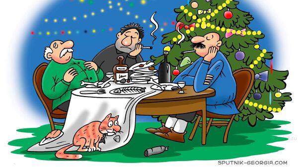 Новогоднее испытание: всю еду надо съесть! - Sputnik Грузия