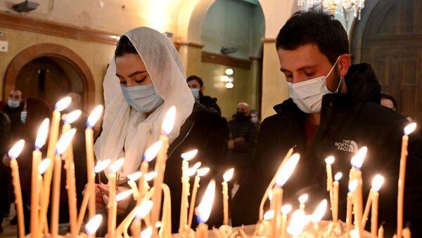 Рождественская служба. Храм Святой Троицы Самеба - Sputnik Грузия
