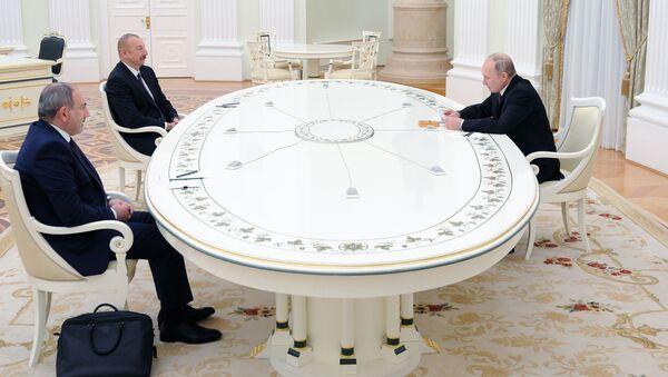 Трёхсторонняя встреча руководителей России, Азербайджана и Армении - Sputnik Грузия