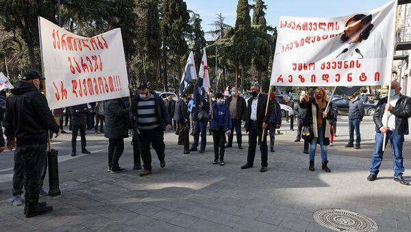 """""""Грузинский марш"""" провел акцию протеста у резиденции президента - видео - Sputnik Грузия"""