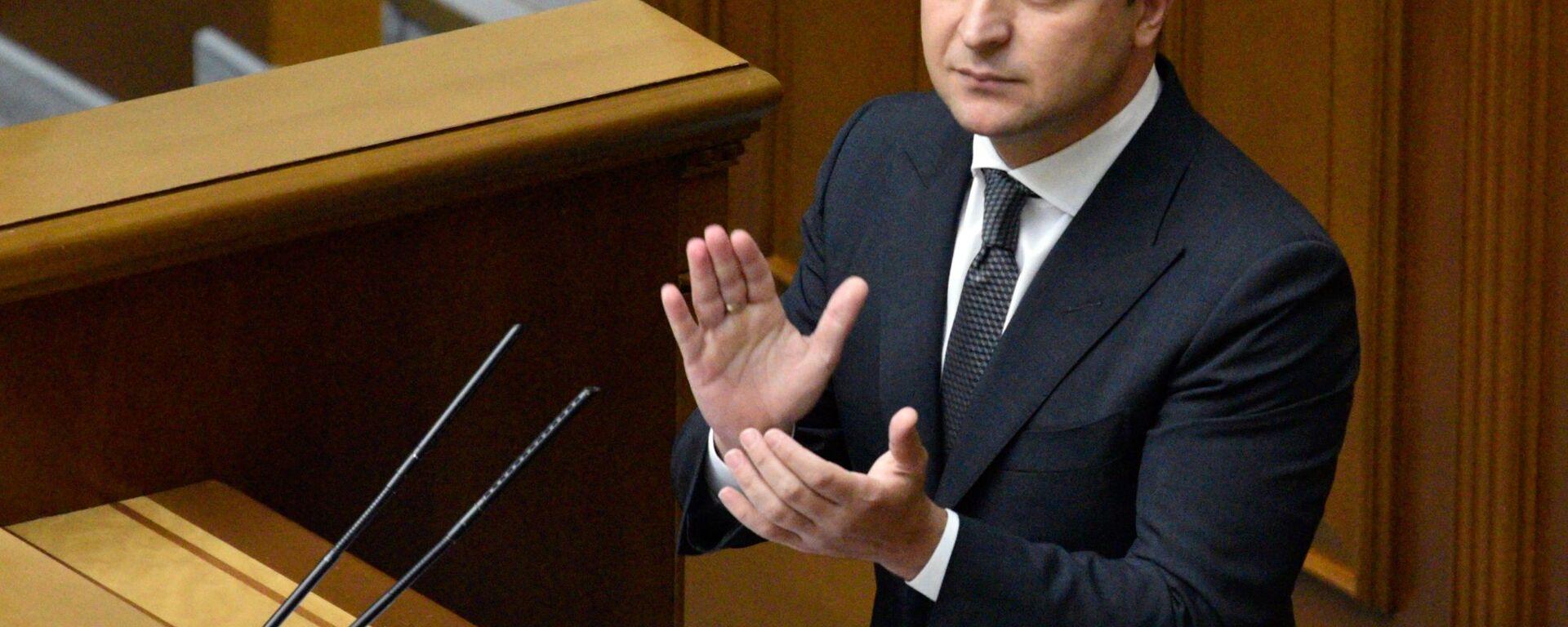 Президент Украины Владимир Зеленский выступает в Верховной Раде, архивное фото - Sputnik Грузия, 1920, 04.02.2021