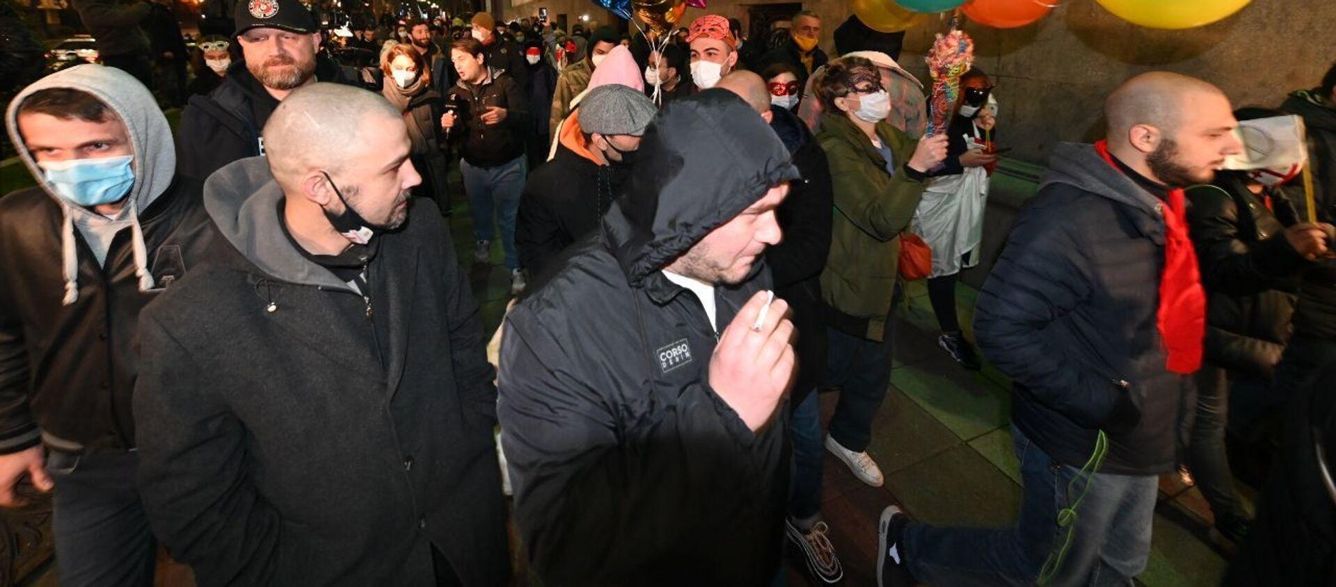 Шествие против ковид-ограничений по проспекту Руставели 6 февраля 2021 года - Sputnik Грузия, 1920, 06.02.2021