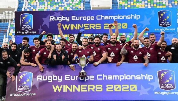 Сборная Грузии по регби с европейским кубком 7 февраля 2021 года - Sputnik Грузия