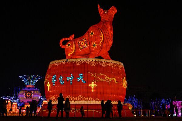 Гигантский фонарь в виде быка в парке Уханя - Sputnik Грузия