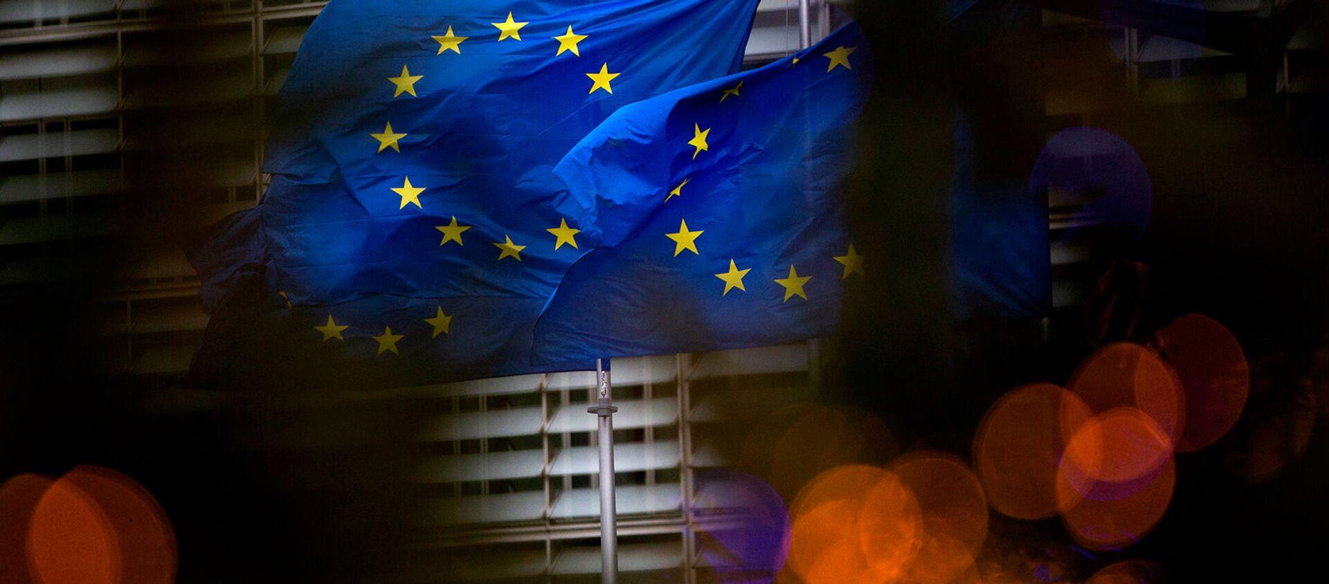 Флаги Европейского союза перед штаб-квартирой ЕС в Брюсселе - Sputnik Грузия, 1920, 15.02.2021