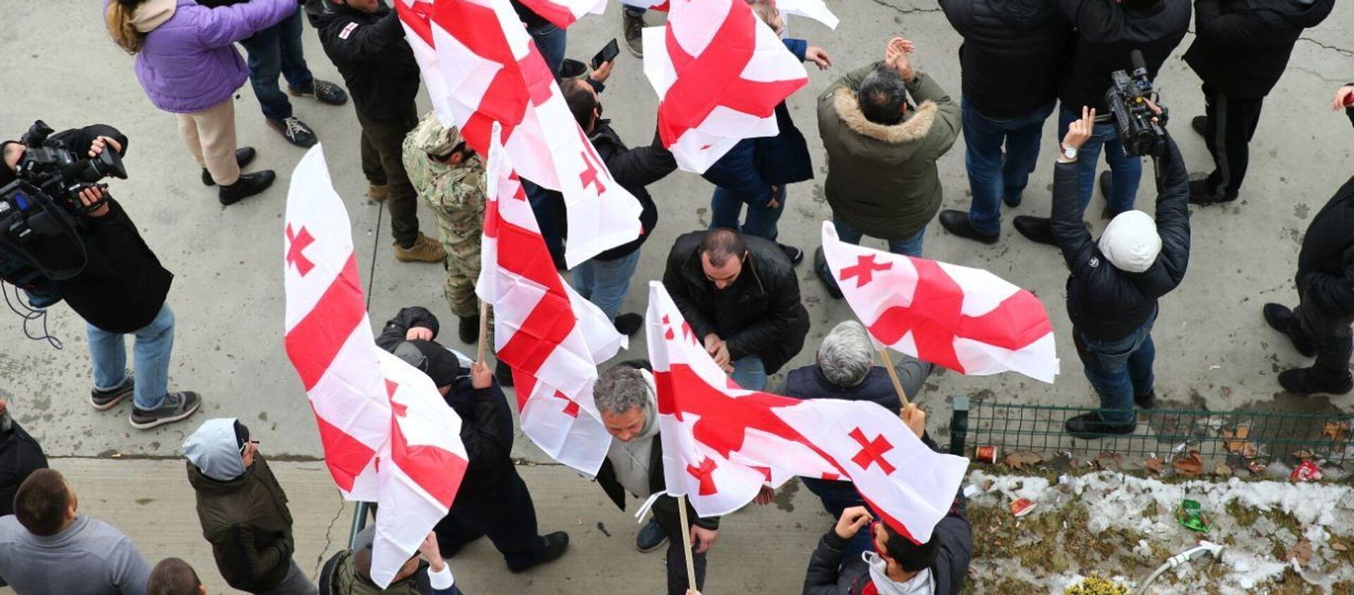 Сторонники ЕНД у офиса Единого нацдвижения 18 февраля 2021 года радуются отставке Гахария - Sputnik Грузия, 1920
