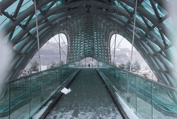 Даже пешеходный мост Мира тоже преобразился - Sputnik Грузия