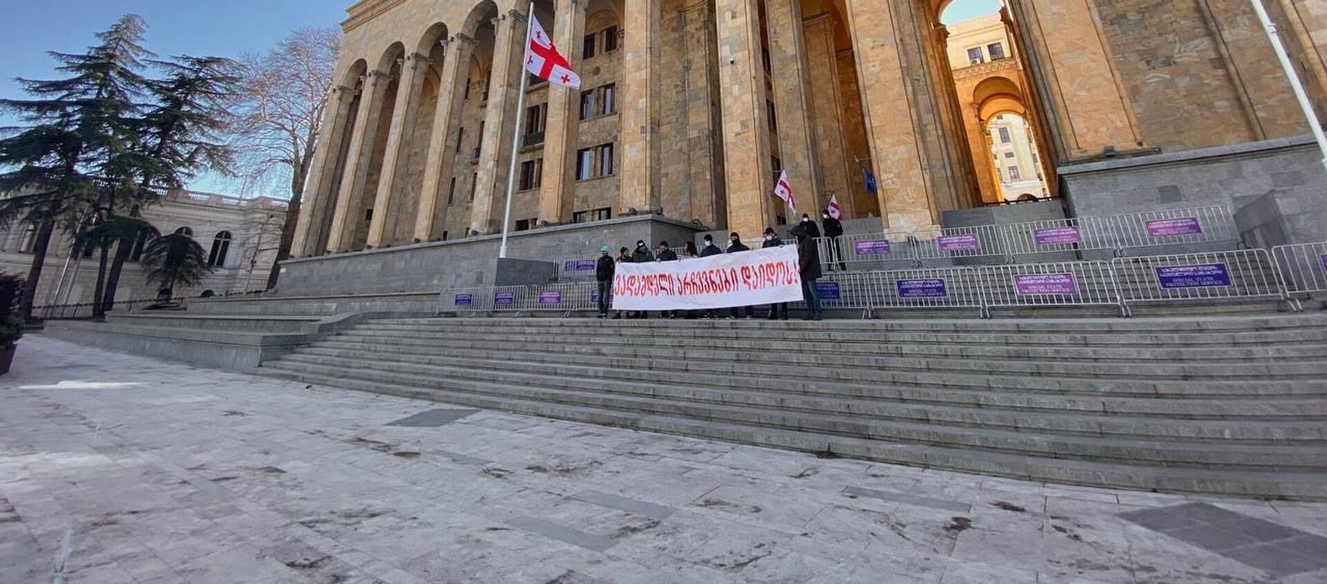 Акция протеста гражданских активистов у здания парламента Грузии - Sputnik Грузия, 1920, 13.05.2021