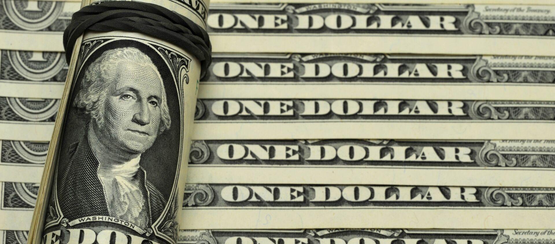 Банкноты номиналом 1 доллар США. - Sputnik Грузия, 1920, 24.02.2021