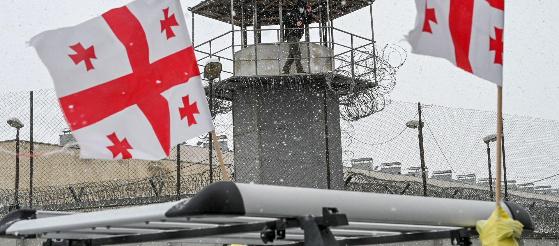 Руставская тюрьма и оппозиция с флагами - Sputnik Грузия, 1920, 25.02.2021