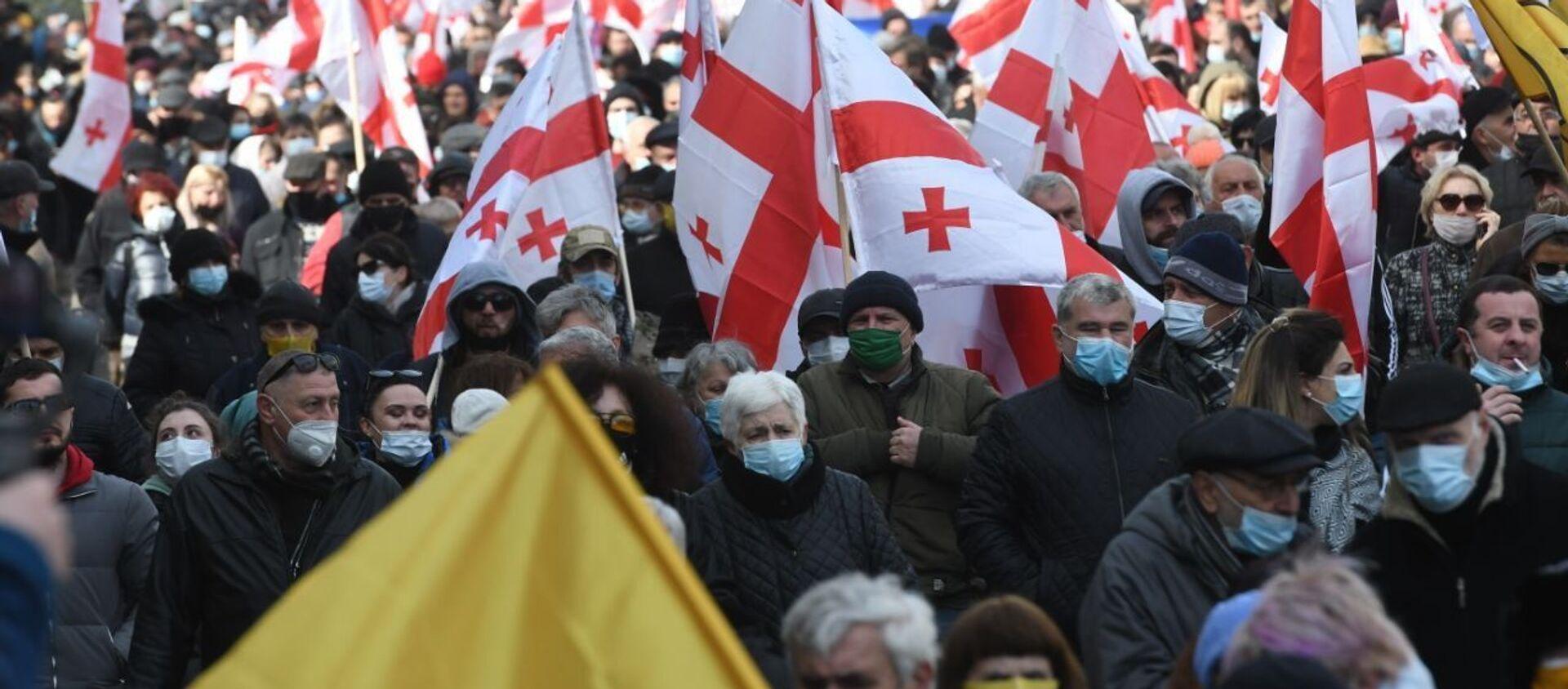 Акция протеста объединенной оппозиции 26 февраля 2021 года - Sputnik Грузия, 1920, 26.02.2021