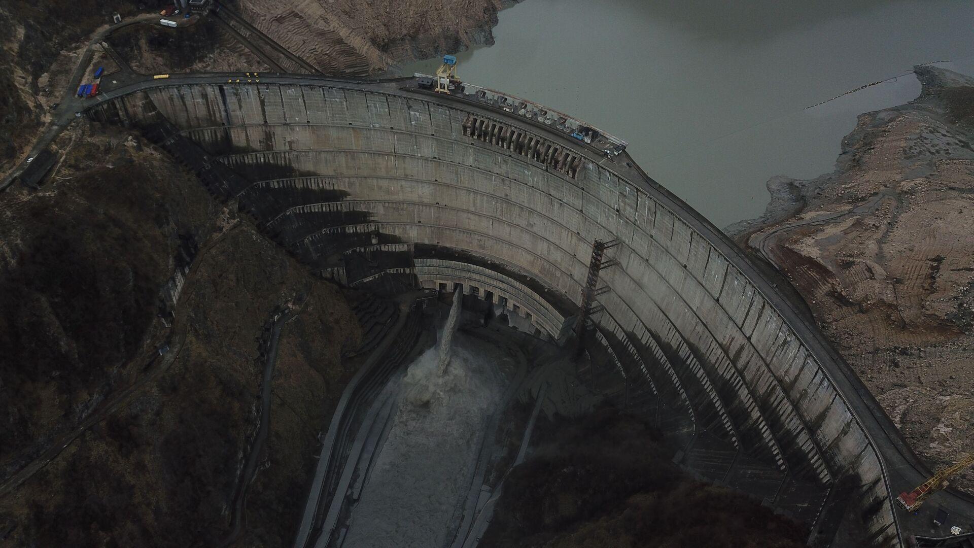 Ингури ГЭС - вид сверху на водохранилище и плотину - Sputnik Грузия, 1920, 01.09.2021