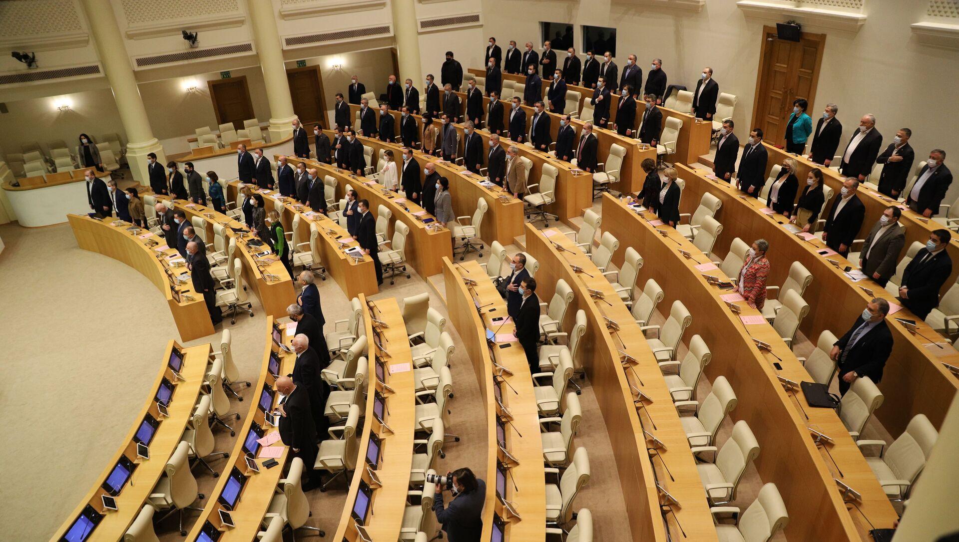 Парламент Грузии - депутаты в зале заседаний - Sputnik Грузия, 1920, 23.05.2021
