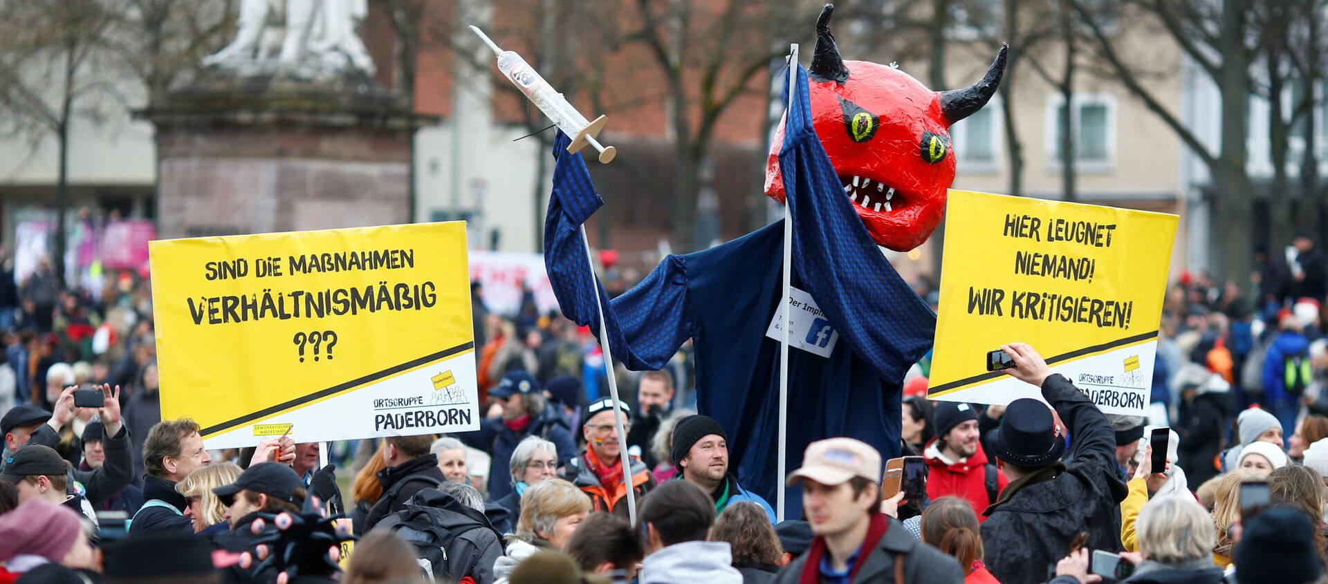 Акция протеста против мер по борьбе с коронавирусом в Касселе, Германия - Sputnik Грузия, 1920, 24.03.2021