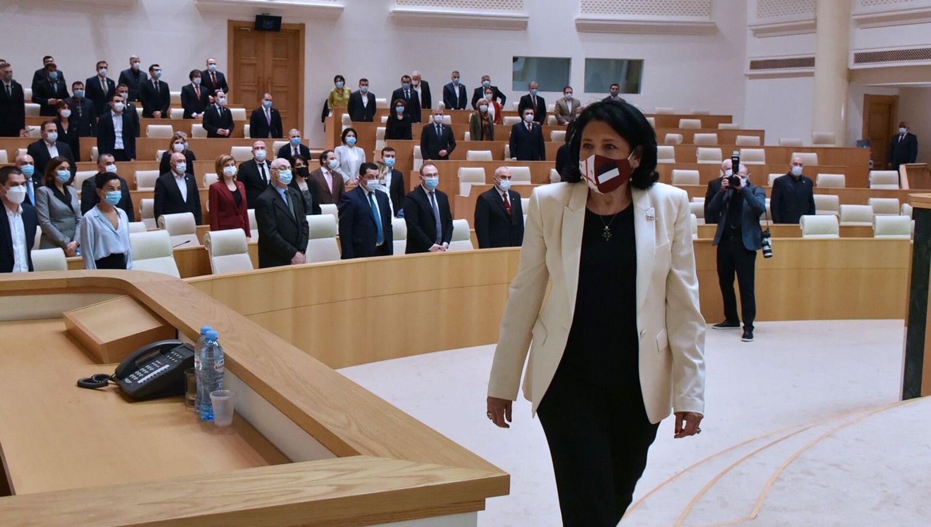 Выступление Саломе Зурабишвили в парламенте - Sputnik Грузия, 1920, 09.04.2021