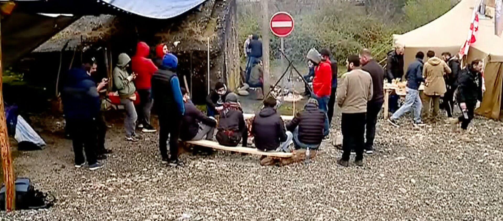 Акция протеста местных активистов на месте строительства Намахвани ГЭС 13 апреля 2021 года - Sputnik Грузия, 1920, 14.04.2021
