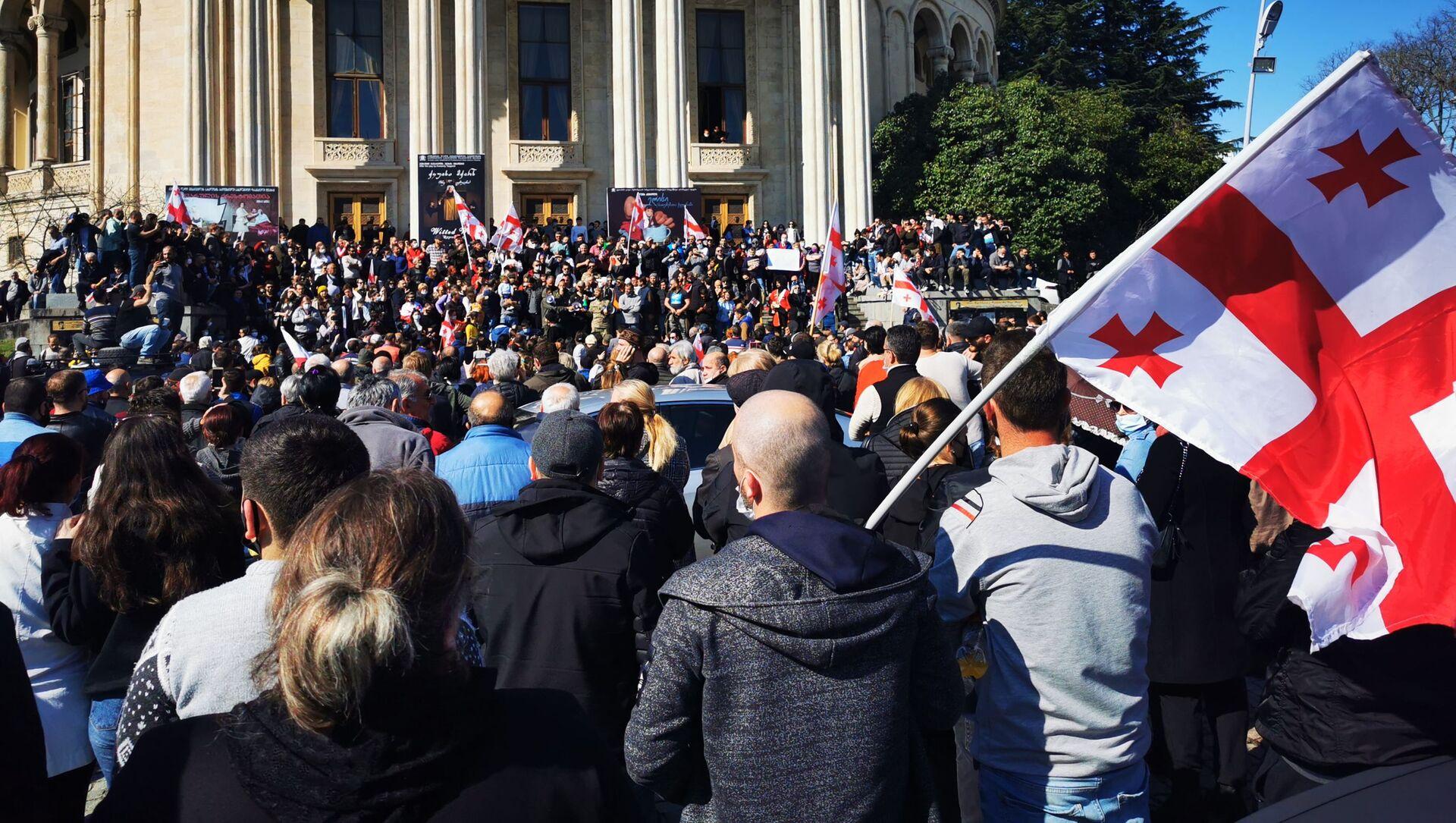 Акция протеста против строительства Намахвани ГЭС в центре Кутаиси 14 апреля 2021 года - Sputnik Грузия, 1920, 15.04.2021