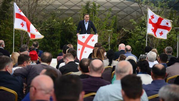 Заал Удумашвили. Встреча лидеров объединенной оппозиции в парке Рике 19 апреля 2021 года - Sputnik Грузия