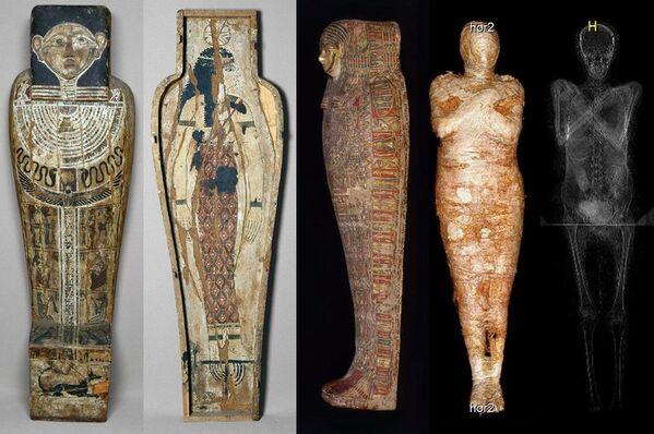 Она была найдена в Фивах и датируется I веком до нашей эры. В 2016 году эксперты впервые провели компьютерное сканирование. Оно дало сенсационный результат - оказалось, что мумия, приписываемая священнику Гор-Джехути, на самом деле скрывает тело женщины   - Sputnik Грузия