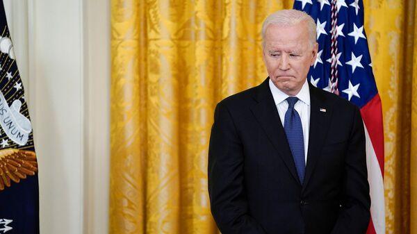 Президент США Джо Байден перед подписанием Закона о преступлениях на почве ненависти COVID-19 (20 мая 2021). Вашингтон - Sputnik Грузия