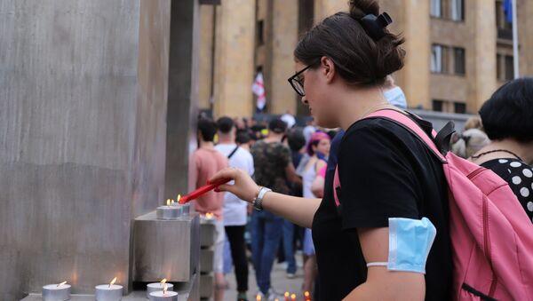 Акция протеста Система убивает! Выходи за жизнь! у здания парламента 11 июля 2021 года с требованием отставки правительства - Sputnik Грузия