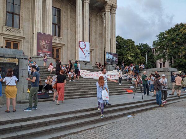 Акции в связи с гибелью Лексо Лашкарава в воскресенье также прошли во всех крупных городах Грузии - Кутаиси, Батуми, Зугдиди, Рустави, Гори и Телави. На фото - акция в Кутаиси - Sputnik Грузия