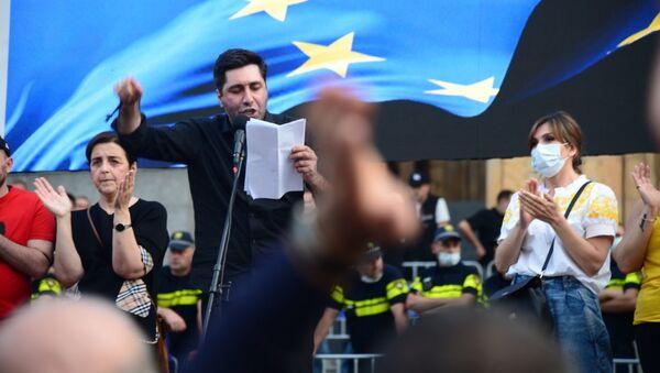 Акция протеста у парламента из-за смерти Лексо Лашкарава. 12 июля 2021 года  - Sputnik Грузия