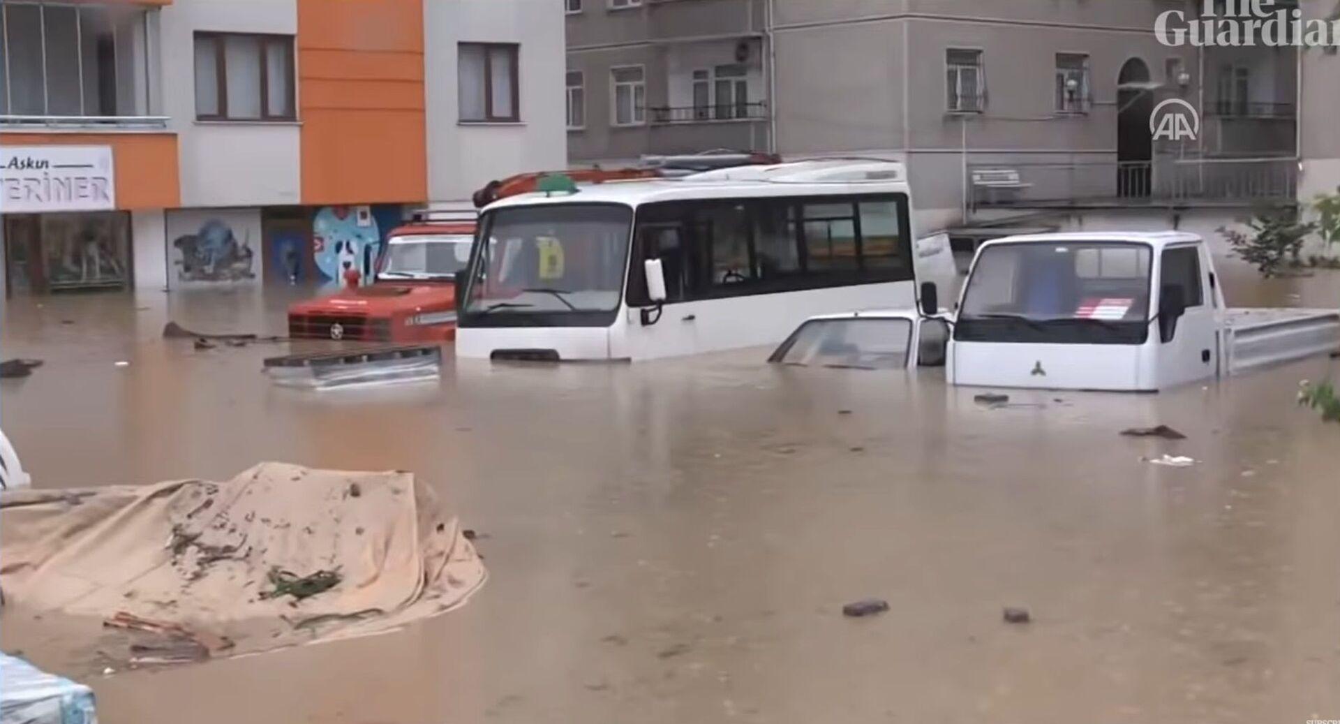 თურქეთში ძლიერმა წვიმებმა წყალდიდობა გამოიწვია - ვიდეო - Sputnik საქართველო, 1920, 24.08.2021