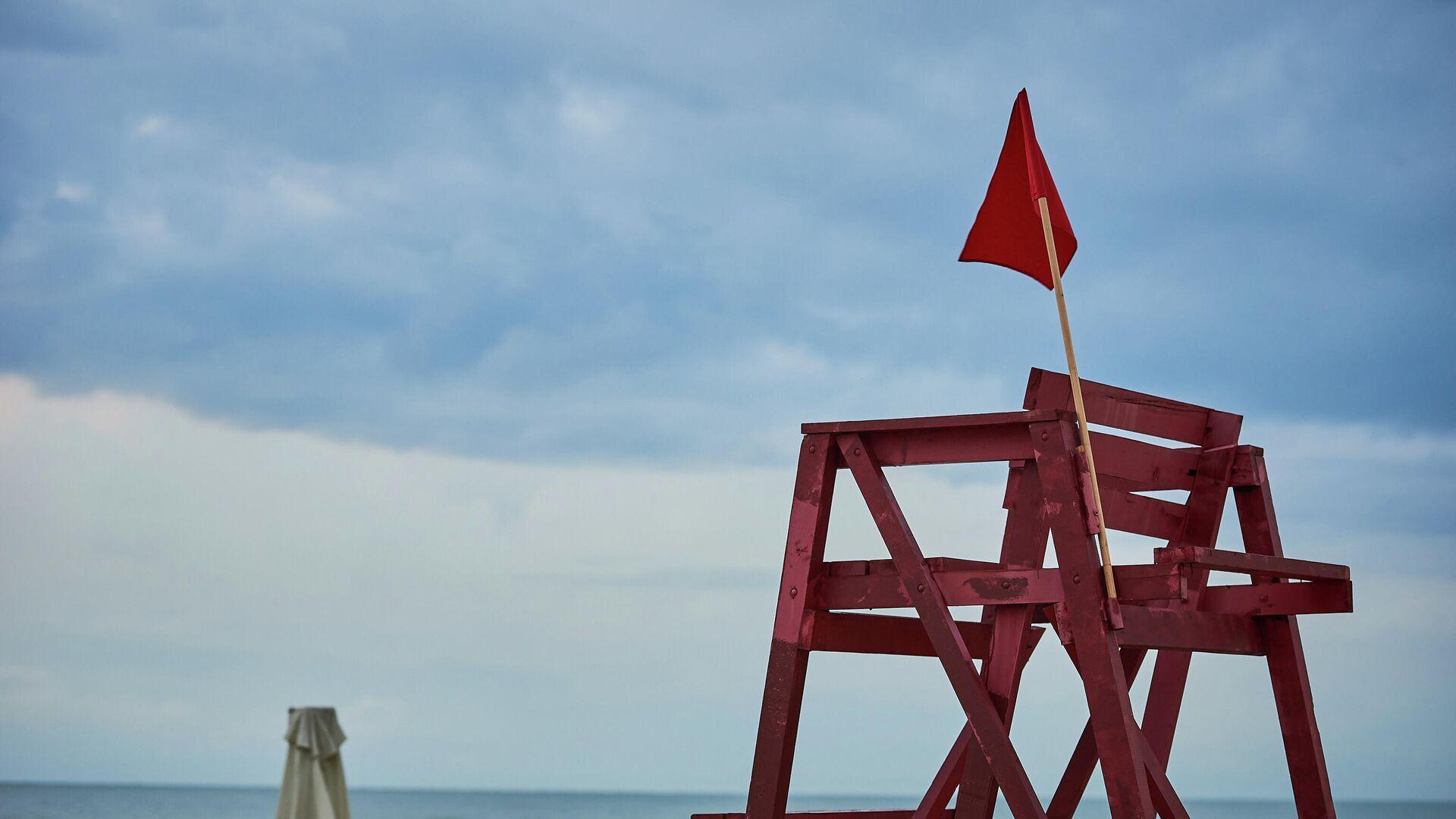 Красный флаг - купаться запрещено. Штормовое предупреждение на Черном море - Sputnik Грузия, 1920, 06.10.2021