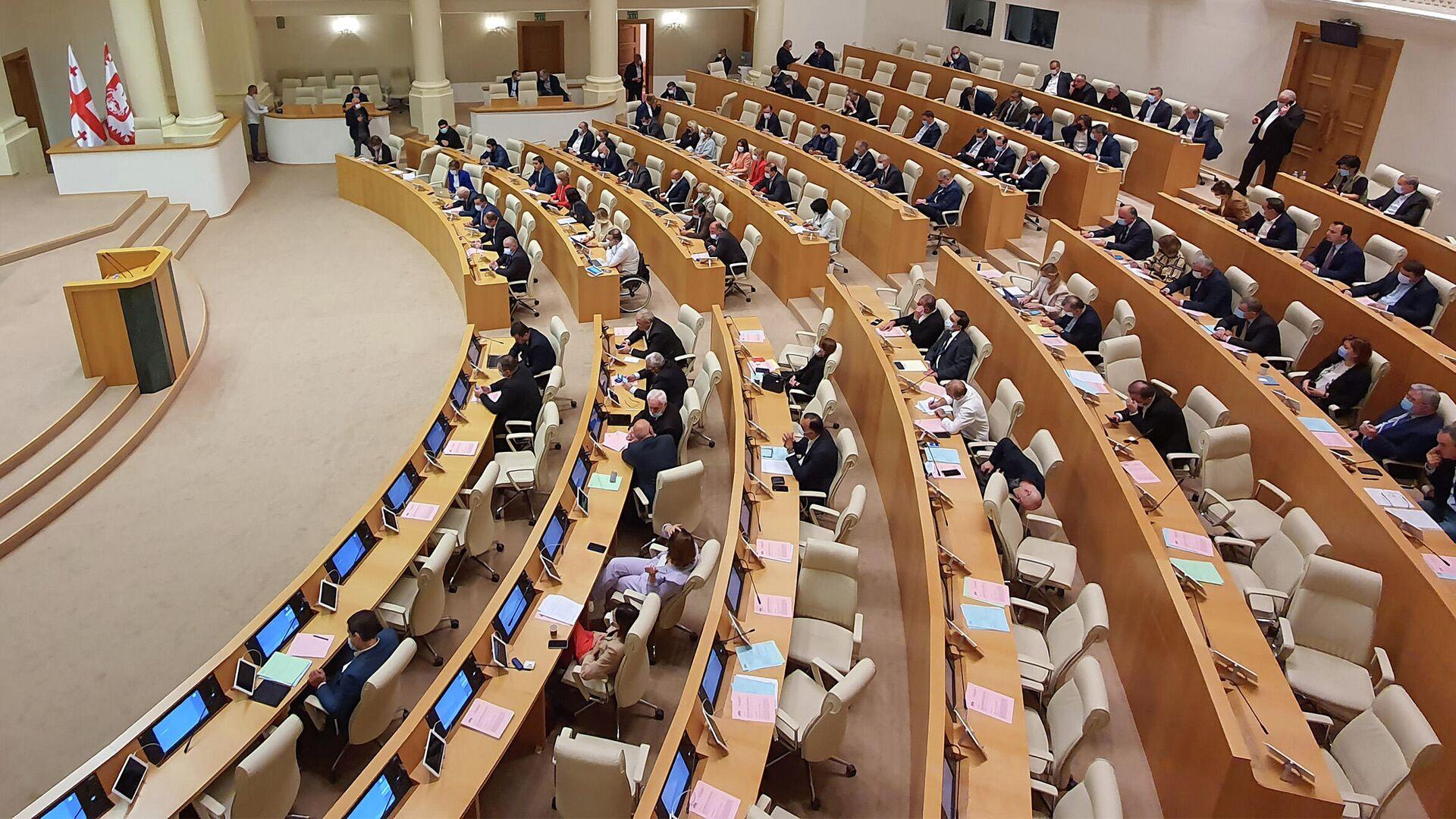 Парламент Грузии. Зал заседаний. Открытие осенней сессии - Sputnik Грузия, 1920, 07.09.2021