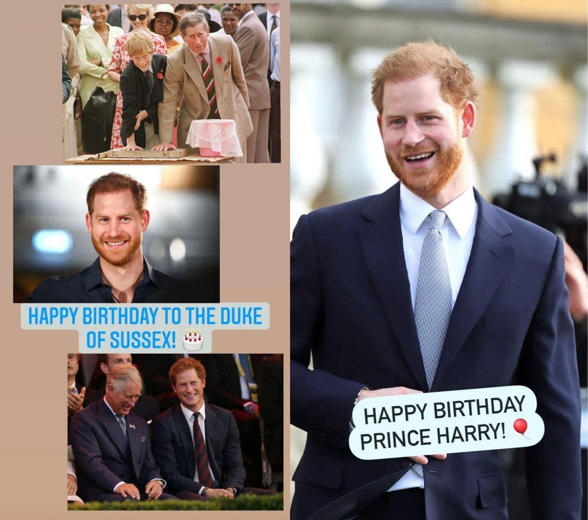 Скриншоты поздравлений принцу Гарри с днем рождения - Sputnik Грузия, 1920, 16.09.2021